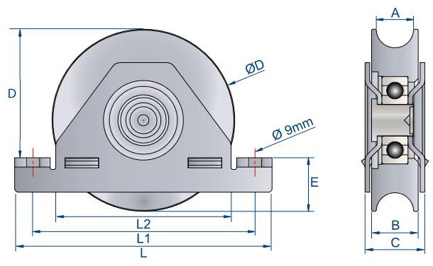 galet sur monture dimensions