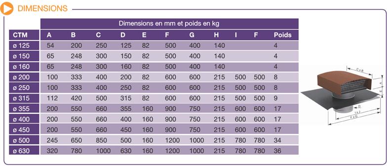 dimensions et poids sortie de toit CTM