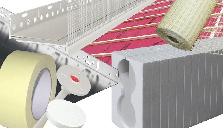accessoires ITE, pvc, aluminium, trame, adhésifs, scotch, menbrane, pare-pluie, pare-vapeur, rail alu